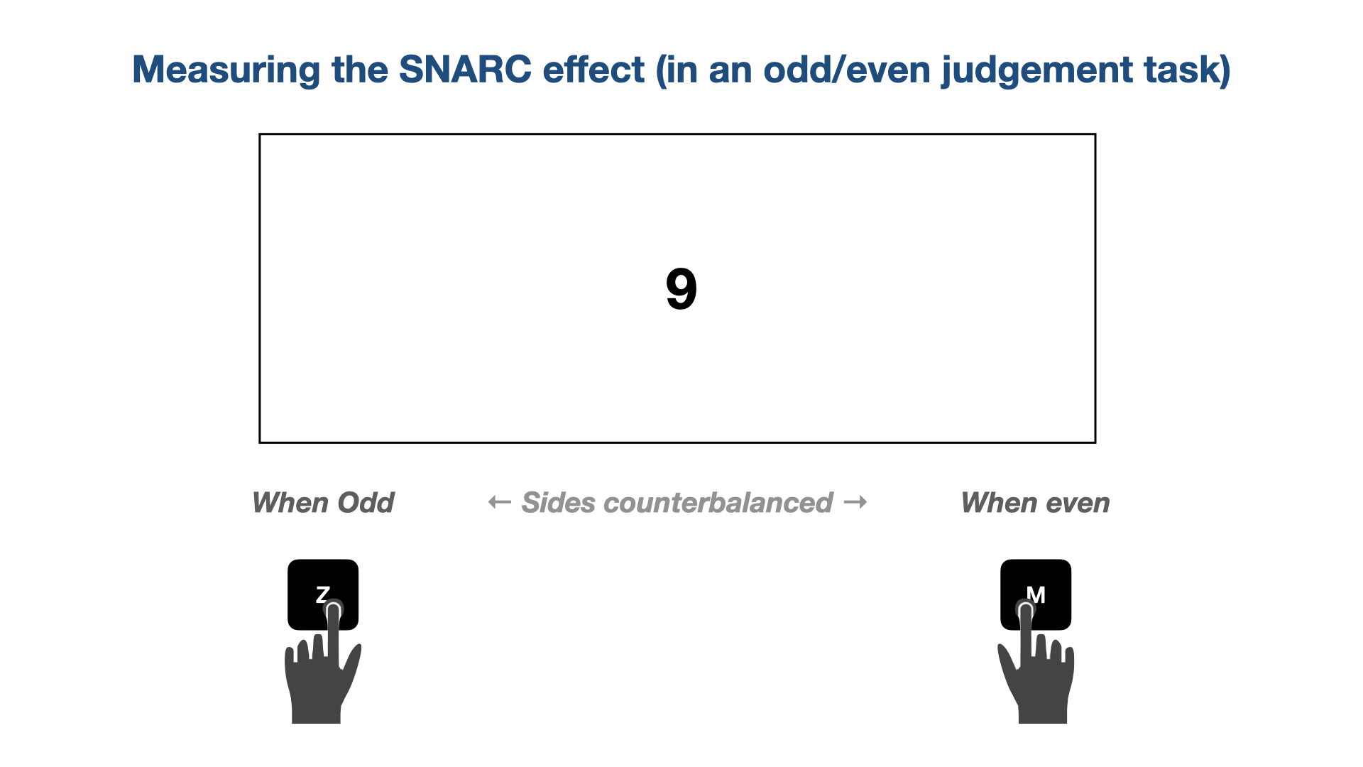 Illustration of odd/even judgement task from the participants' view to measure the SNARC effect.